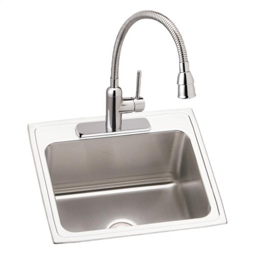 """Elkay Lustertone Classic Stainless Steel 25"""" x 22"""" x 12-1/8"""", Single Bowl Drop-in Sink and Faucet Kit"""