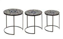 Blue & White Scroll Tile Nested Table (3 pc. set)