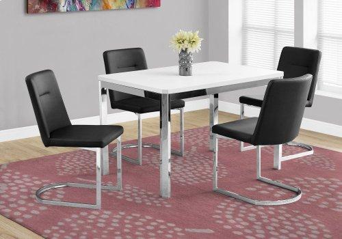 "DINING TABLE - 32""X 48"" / WHITE / CHROME METAL"
