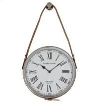 Clock 30 cm NOTRE DAME nickel leather brown