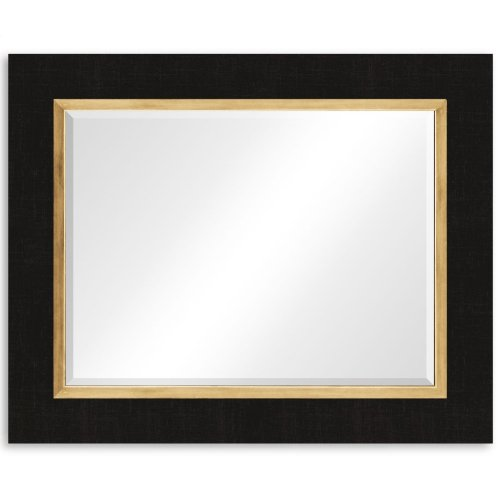 "Charcoal & Gold ""Homespun"" Mirror"