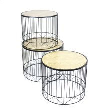 S/3 Black Metal Accent Tables, Wood Top