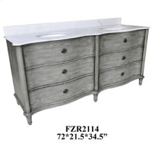 """Grayson Curved 4 Drawer 72"""" Double Vanity Sink"""