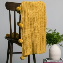 Callaway Pom Pom Throw - Mustard