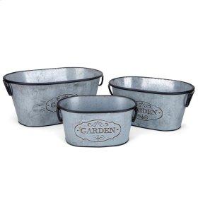 Marin Galvanized Oval Planters - Set of 3
