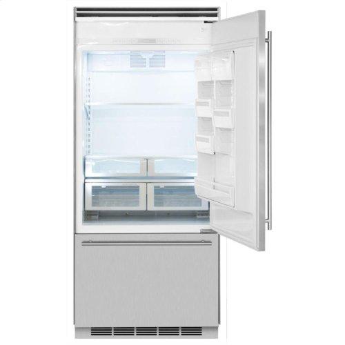"""Professional Built-In 36"""" Bottom Freezer Refrigerator - Panel-Ready Solid Overlay Door - Left Hinge*"""