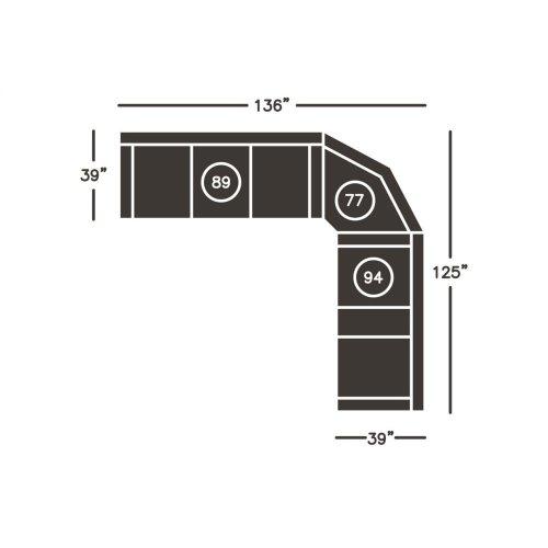 Acieona REC Sofa w/Drop Down Table - Slate