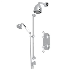 Polished Chrome Perrin & Rowe Georgian Era Thermostatic Shower Package with Georgian Era Metal Lever With Porcelain Cap