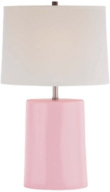 Ceramic Table Lamp, Pink/wht Fabric Shade, Type A 60w