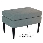 Layla Black Wood and Teal Linen Accent Stool Product Image