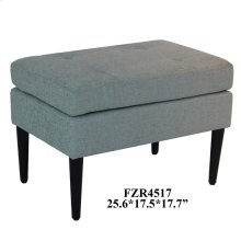 Layla Black Wood and Teal Linen Accent Stool