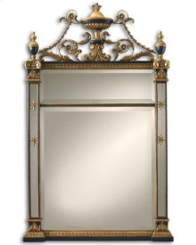 Empire Mirror with Burnished Gold and Black, Beveled Glass