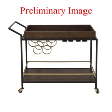 Walnut & Iron Mid Century Bar Cart