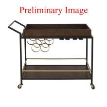 Walnut & Iron Mid Century Bar Cart