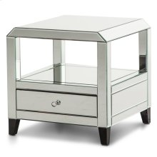 Mirrored Square Accent Table W/drawer