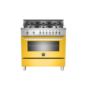 Bertazzoni36 6-Burner, Gas Oven Yellow