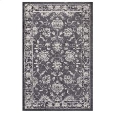 Kazia Distressed Floral Lattice 5x8 Area Rug in Dark Gray and Ivory
