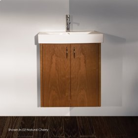 "Wall-mount under-counter vanity with two doors and one pull-out shelf, polished chrome pulls .22 1/4""W x 16 1/4""D x 24""H"