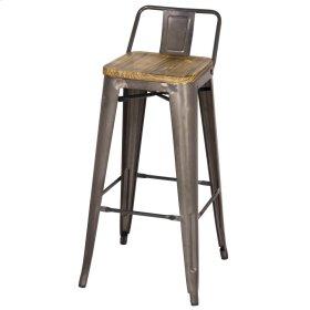 Metropolis Low Back Bar Stool Wood Seat, Gunmetal