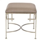 Hammered Silver Leaf Stool W. Beige Linen Upholstered Top. Product Image