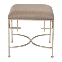 Hammered Silver Leaf Stool W. Beige Linen Upholstered Top.