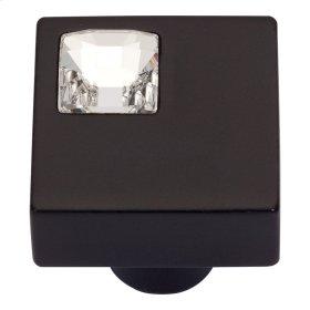 Crystal Off Center Square Knob 1 Inch - Matte Black