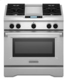 36-Inch 4-Burner with Steam-Assist Oven, Dual Fuel Freestanding Range, Commercial-Style - Stainless Steel Product Image