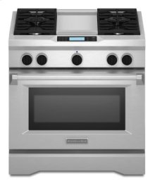 36-Inch 4-Burner with Steam-Assist Oven, Dual Fuel Freestanding Range, Commercial-Style - Stainless Steel