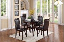 5-Piece Pack Dinette Set Table: 42Dia x 30H Chair: 18 x 20.5 x 37.5H