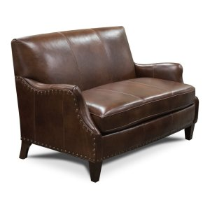 England Furniture Leather Lyle Settee With Nails 84384ln