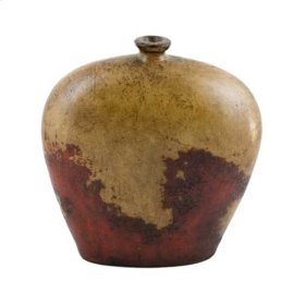 Textured Red Oval Jar