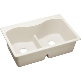 """Elkay Quartz Luxe 33"""" x 22"""" x 9-1/2"""", Equal Double Bowl Drop-in Sink with Aqua Divide, Ricotta"""
