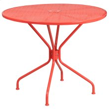 35.25'' Round Coral Indoor-Outdoor Steel Patio Table