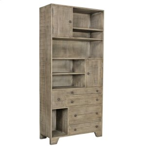 CRESTVIEW COLLECTIONSBengal Manor Distressed Grey Bookcase