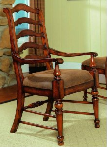 Waverly Place Sporty Cognac Fabric Ladderback Arm Chair