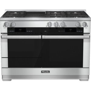 MieleHR 1955-2 G 48 inch range Dual Fuel with M Touch controls, Moisture Plus and M Pro dual stacked burners