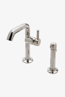 .25 One Hole High Profile Kitchen Faucet, Short Metal Handle and Metal Spray STYLE: PTKM15