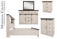 Madison County 4 PC Queen Barn Door Bedroom: Bed, Dresser, Mirror, Nightstand - Vintage White