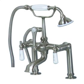 """Clawfoot Tub Filler - Elephant Spout, Hand Held Shower, 6"""" Elbow Mounts, Lever Handles - Polished Chrome"""