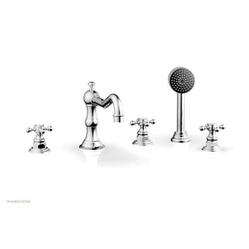 HENRI Deck Tub Set with Hand Shower with Cross Handles 161-48 - Polished Chrome