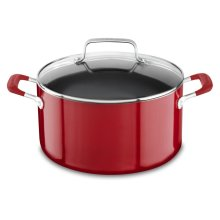 Aluminum Nonstick 6.0 Quart Stockpot with lid - Empire Red