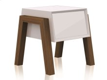 The Figo High Gloss White Lacquer Nightstand / End Table