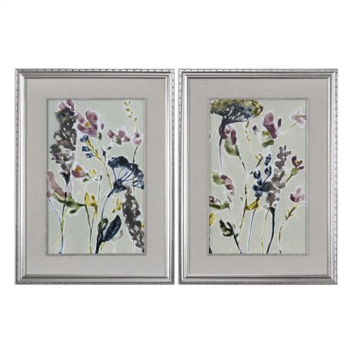 Parchment Flower Field Framed Prints
