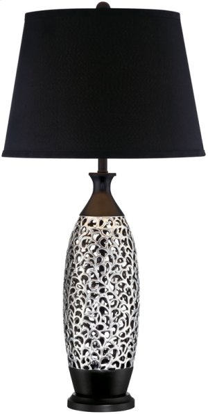 Table Lamp, Chrome/black W/black Fabric Shade, E27 Cfl 23w