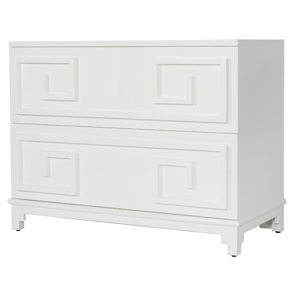 Oriental 2 Drawer Chest In White Lacquer With Beveled Mirror Inset Top.  Drawers On Glides