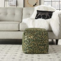 Natural Leather Hide S2186 Green Copper 16 X 16 X 16 Poufs Product Image