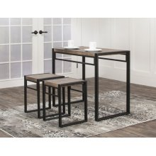 CR-P2089  3 Piece Counter Height Dining Table Set  Two Stools  Reclaimed Oak  Shelves