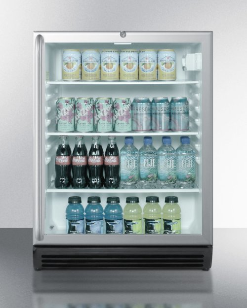 ADA Compliant, Commercially Approved Glass Door Beverage Center With Black Cabinet, Full-length Stainless Steel Handle, and Front Lock