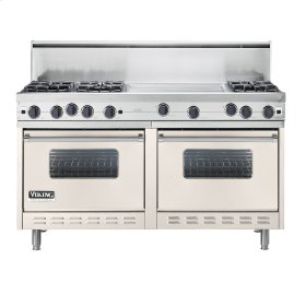 "Oyster Gray 60"" Open Burner Commercial Depth Range - VGRC (60"" wide, six burners 24"" wide griddle/simmer plate)"