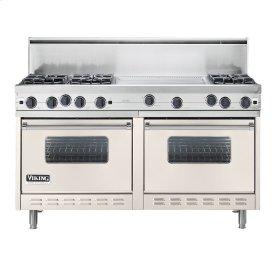 """Oyster Gray 60"""" Open Burner Commercial Depth Range - VGRC (60"""" wide, six burners 24"""" wide griddle/simmer plate)"""